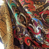 DCCKUG3 YSL YVES SAINT LAURENT women's Scarf Floral Silk Multi color Brown Gold foulard