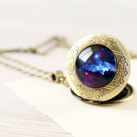 Cosmic Galaxy Blue locket necklace - Space jewelry - Free Shipping