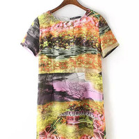Landscape Print Short Sleeve Shift Mini Dress