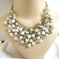 Faux Pearl, Crystal & Celluloid Roses MESH BIB Necklace Vintage