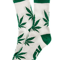 The Stay Smokin' Crew Socks in White and Green