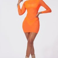 Illusion Mesh Mini Dress Orange