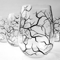 Winter Tree Branch Stemless Wine Glasses - Set of 2 Hand Painted Glasses - Black Winter Trees