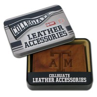 Texas A&M Aggies Leather Trifold Wallet (Brown)