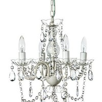 "The Original Gypsy Color 4 Light Small Shabby Chic Crystal Chandelier H18"" W15"", White Metal Frame with Clear Acrylic Crystal"