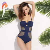 Newest One Piece Swimsuit Women Sexy Mesh Swimwear Hollow Out Bodysuit Bathing Suit Beach Swimming Suit