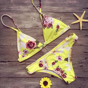 Flower Print Fashion Strap Beach Bikini Set Swimsuit Swimwear