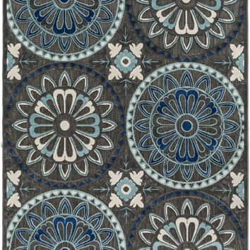 Portera Medallion and Damask Area Rug Blue