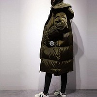 Down Jacket 2017 New Fashion Brand Long Winter Coat Women White Duck Down Jacket Female Parka With Hood Army Green Jacket