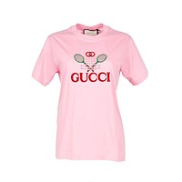 Gucci Womens Pink Tennis Embroidery T-Shirt