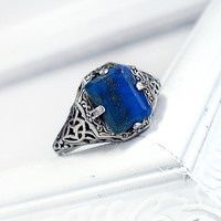 Caroline: Sterling Silver and Lapis Lazuli ring - blue gem, antique, victorian, sunlight protection ring, Vampire Diaries, filigree design