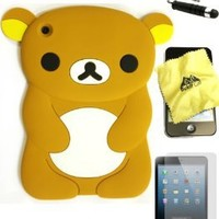 Bukit Cell (TM) BROWN Bear 3D Cartoon Soft Silicone Skin Case Cover for Apple IPAD MINI (16GB 32GB 64GB WiFi and 4G / LTE Versions) + BUKIT CELL Lint Cleaning Cloth + Screen Protector + METALLIC Detachable Touch Screen STYLUS PEN with Anti Dust Plug [bundl