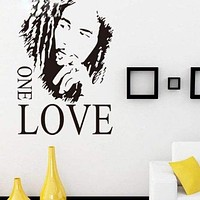 "16.9"" x 24.0"" BOB MARLEY ONE LOVE Removable Vinyl Art Quote Wall Sticker Decal"