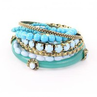 Bangles with Mixed Gold and Turquoise Bead Embellishment