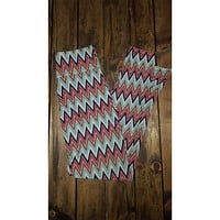 Light Blue Chevron Print Leggings W/ Zipper