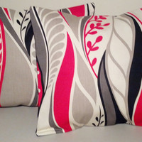 "2 Handmade Pillow Covers - Modern, Abstract Print - READY TO SHIP - 12"" X 12"""