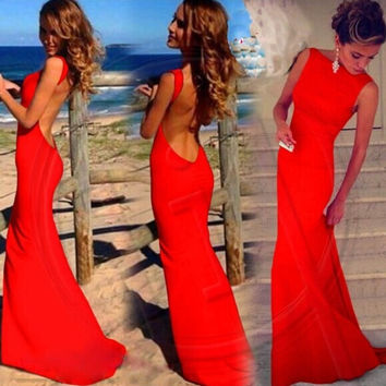 Women Sexy Backless Open Back Maxi Dress Party Prom Dress = 1946102788