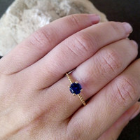 SALE! Blue Sapphire Ring- Deep blue stone -Gold Ring - Gemstone Ring - September Birthstone-Round prong ring