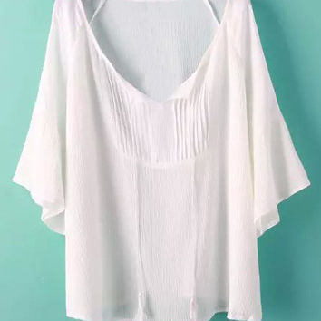 White Lace Up Pleated T-Shirt