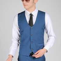 British Style Royal Blue Gentleman Vest Men Office Formal Business Suit Vests Best Man Groom Wedding Vest Terno Colete Masculino