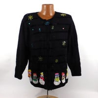 Ugly Christmas Sweater Vintage Cardigan Snowman Holiday Tacky Women's size L