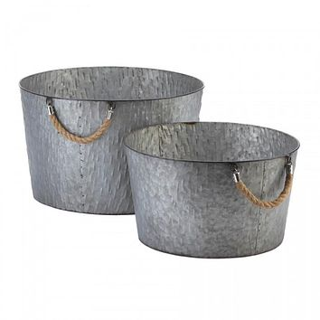 Galvanized Metal Textured Bucket Planters with Rope Handles
