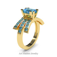 Modern Victorian 14K Yellow Gold 1.0 Ct Emerald Cut Blue Topaz Wedding Ring, Engagement Ring R344-14KYGBT