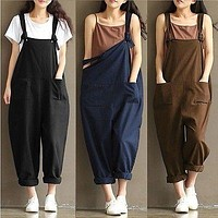 2017 New Womens Casual Loose Linen Pants Cotton Jumpsuit Strap Harem Trousers Overalls Overalls Loose Harem Pants Trousers