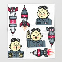 Kim Jong Un Rockets Throw Blanket by Chobopop