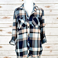 Country Backwoods Flannel - Hi-Low Style - Navy/Peach