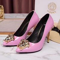 Versace New Trending Women Stylish Pure Color Smooth Leather Stiletto Heel Pointed High Heels Pink I13174-41