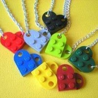 NEW COLORS Lego Heart Necklace by MichellesCharmWorld on Etsy