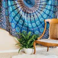 Floral Bohemian Blue Tapestry