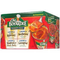 CHEF BOYARDEE MICROWAVEABLE PASTA VARIETY PACK 7.5 OZ 8 CT& 10 PK 15 OZ