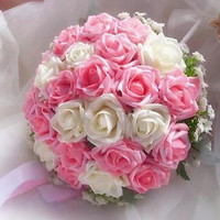 Pugster® PE Pink And Champagne Flower Bridal Wedding Floral Bouquet Heirloom A01