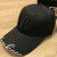 NY New fashion embroidery letter couple cap hat Black