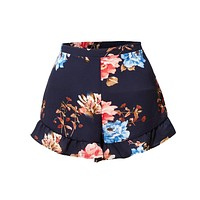 Lightweight Stretchy Floral Print Ruffled Summer Shorts (CLEARANCE)