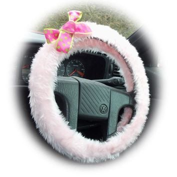 Baby Pink fluffy car steering wheel cover with spotty barbie pink & lime green polka dot Bow