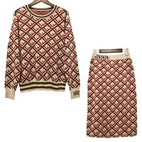 FENDI Popular Women Casual Long Sleeve Knit Sweater Pullover Top Skirt Set Two-Piece Red