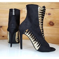 """CR Alza Black Cut Out Gold Twist Design 4.25"""" High Heel Ankle Boots Shoe"""
