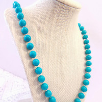 Vintage Aqua Beaded Necklace Turquoise Blue Jewelry Classic Beads Baubles Retro Rockabilly Fashion Accessories For Her