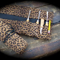 Small Dual Layered Heavy Duty Canvas Tool Roll for Carvers, Crafters, Leopard Print, Roll for Chisels