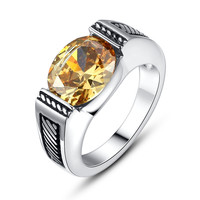 Stainless Steel Vintage Oval Yellow Cubic Zirconia Ring