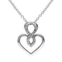 Diamond Accent Sterling Silver Infinity Heart Pendant Necklace (White)