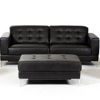 Divani Casa Larkspur - Modern Black Bonded Leather Sofa Set