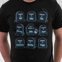 Spoiler Graveyard - Geeky Pop Culture Halloween Shirt. 100% Cotton. Mens, womens and kids sizes. A graveyard for characters who die...