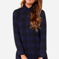 BB Dakota Keenan Navy Blue Plaid Shirt Dress
