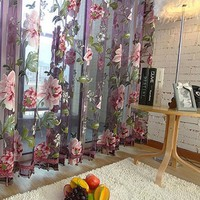 1x2m Brilliant Flowers Fashion Window Yarn Curtains Sheer Tulle Curtain Home Living Room Bedroom Drapes Floral Voile Curtains