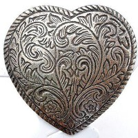 Sterling Silver Heart Brooch Vintage Large Hand Made Estate Pin