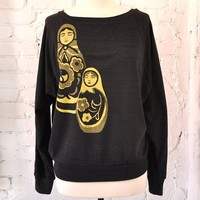Supermarket - Russian Dolls Design Tri-Blend Pullover from maryink